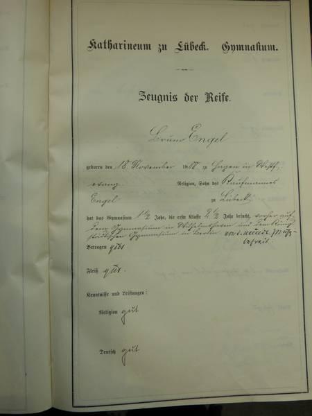 Reifezeugnis Seite 1,Archiv der Hansestadt Lübeck,Schulen, Katharineum