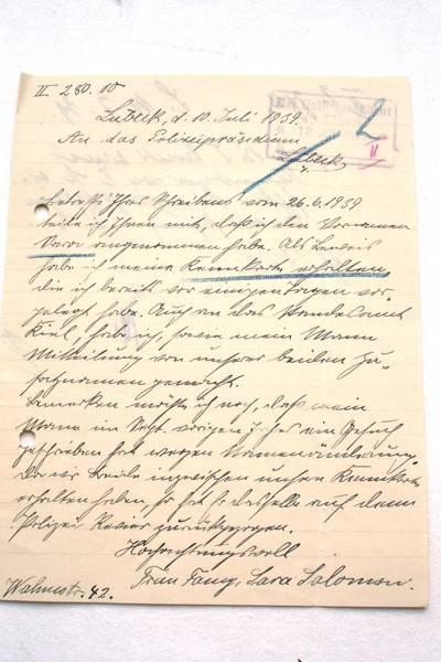 Schreiben von Fanny Salomon vom 10.Juli 1939
