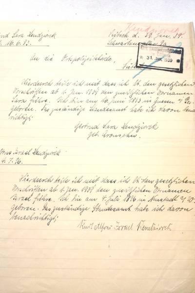 Zwangsnamen Gertrud und Kurt Kendziorek; Archiv der Hansesstadt Lübeck, Staatliche Polizeiverwaltung 124