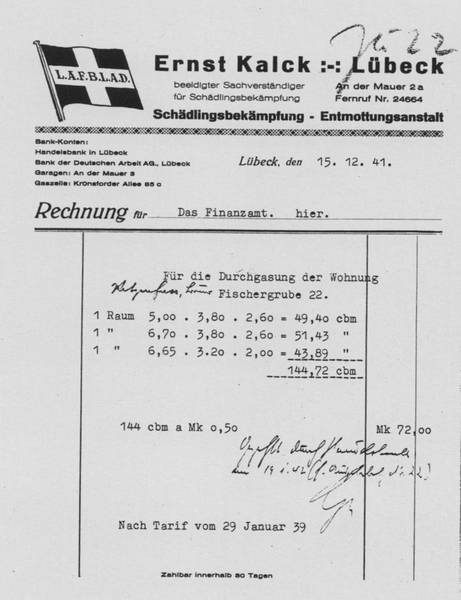 A Kalck Company invoice from December 1941 to the Finance Department [6]