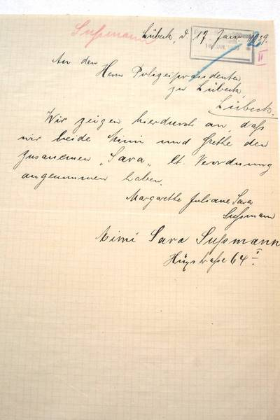 "Handwritten declaration to the Chief Constable by Margarethe Juliane and Mimi Sussmann dated January 17, 1939.  Note that they used ""Sara"" in their names, which they were forced to do since it was required by law."