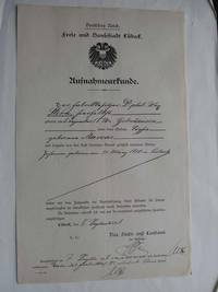 Naturalization Certificate for the Stern Family by the Free and Hanseatic City of Lübeck.  In the collection of Archiv der Hansestadt Lübeck, Stadt- und Landamt, Anlagen zum Erwerb der Staatsangehörigkeit 340/1917