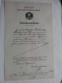 Aufnahmeurkunde der Freien und Hansestadt Lübeck für Familie Stern Archiv der Hansestadt Lübeck, Stadt- und Landamt, Anlagen zum Erwerb der Staatsangehörigkeit 340/1917